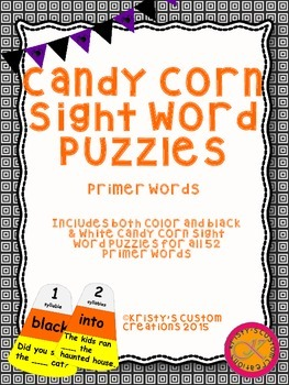 Halloween Sight Word Activity- Primer Words