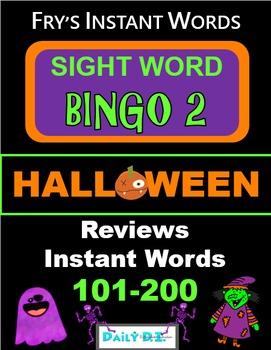 Halloween Sight Word Bingo 2 - Fry's Instant Words Second Hundred 101-200