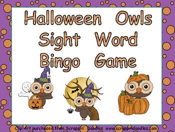 Halloween Sight Word Bingo Game- Kindergarten