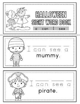 Halloween Sight Word Book; I, See, Can, A: Kindergarten-FREE