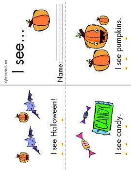 "Halloween Sight Word Book ""I see..."""