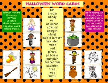 Halloween Word Wall Cards  * Sight Words * Game Cards * Fu