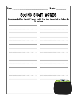 Halloween Sight Word Center