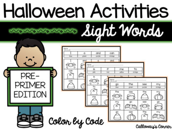 Halloween Sight Word Color by Code PRE PRIMER EDITION