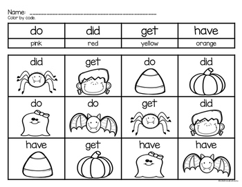 Halloween Sight Word Color by Code PRIMER EDITION