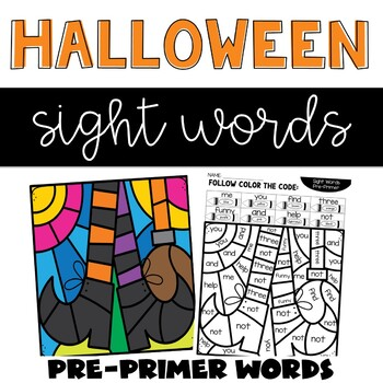 Halloween Sight Word Coloring with Pre-primer Words by ...