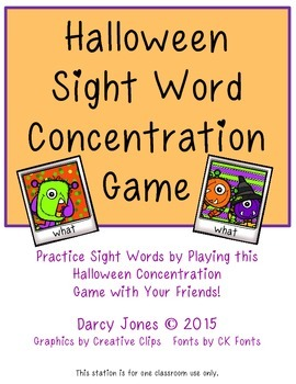 Halloween Sight Word Concentration Game