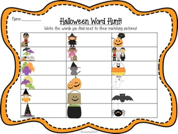 Halloween Sight Word Hunt!  Write the Room with Secret Messages!