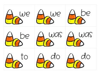 Halloween Sight Word Memory Game