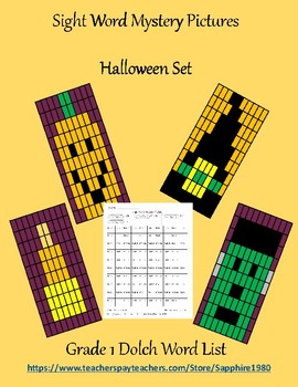 Halloween Sight Word Mystery Pictures Grade 1 dolch list