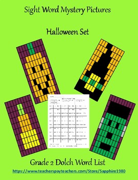 Halloween Sight Word Mystery Pictures Grade 2 dolch list