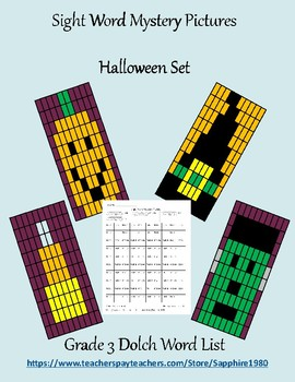 Halloween Sight Word Mystery Pictures Grade 3 dolch list