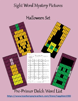 Halloween Sight Word Mystery Pictures pre-primer dolch list