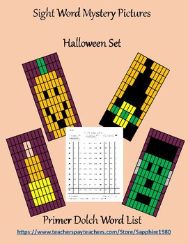 Halloween Sight Word Mystery Pictures primer dolch list