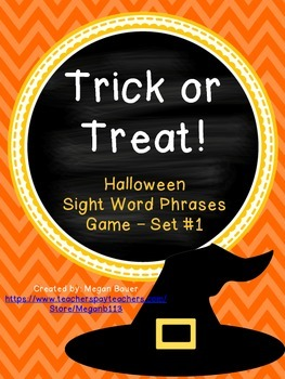 Halloween Sight Word Phrase Game Set One