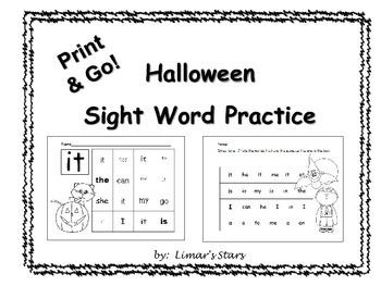 Halloween Sight Word Practice