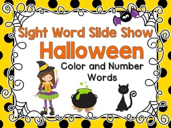 Sight Word Slide Show, Color and Number Words, Halloween
