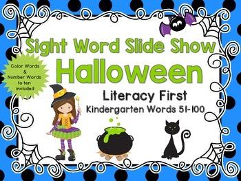 Sight Word Slide Show, Literacy First, Kindergarten Words 51-100, Halloween