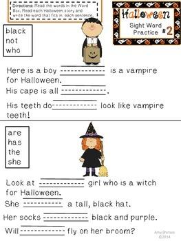 Halloween Sight Word Practice for Emergent & Beginning Readers