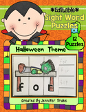 Halloween Sight Word Puzzles **EDITABLE**