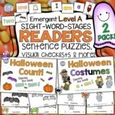 Halloween Level A Sight Word Readers, Sentence Scrambles,