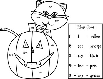 Halloween Sight Word Roll and Color