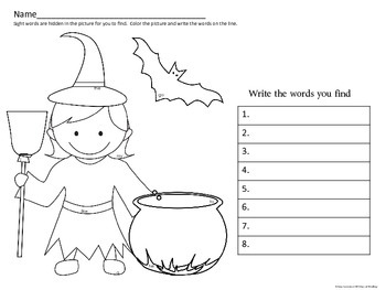 Halloween Sight Word Search and Find
