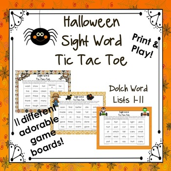 Halloween Sight Word Tic Tac Toe (Dolch Word Lists 1-11)