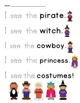 Halloween Sight Word Trace!
