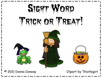 Halloween Sight Word Trick or Treat Game