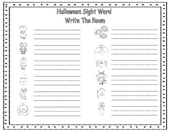 Halloween Sight Word Write The Room: Fill In The Sight Words You Are Working On!