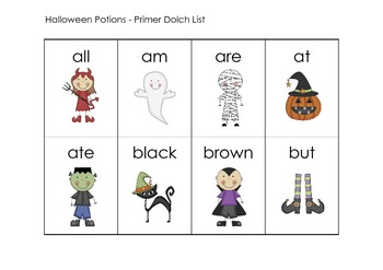 Halloween Sight Word and Math Centers K - 2