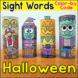 Halloween Sight Words Color-by-Code 3D Characters - Halloween Craft