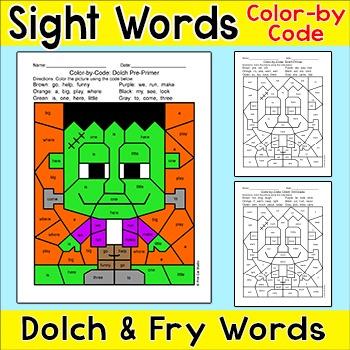 Halloween Activities Color by Sight Words Frankenstein - Differentiated