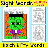 Halloween Activities Color by Sight Words Frankenstein - D