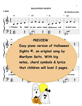 Halloween Sights: Halloween song arranged for piano  & voice.