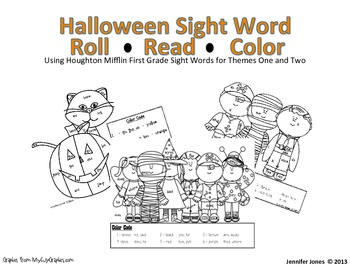 Halloween Sight Word Roll Read Color Activity