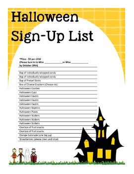 Halloween Sign-Up List!