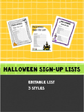 Halloween Sign-Up List!