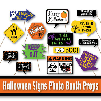 Halloween Signs Photo Booth Props and Decorations - Printable