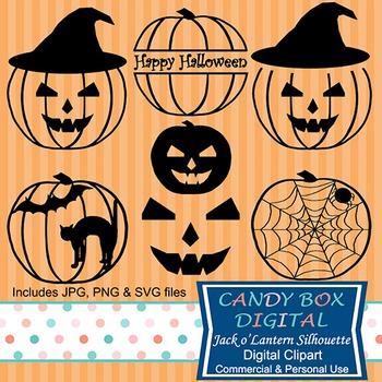 Halloween Silhouette Clip Art w/ SVG Files