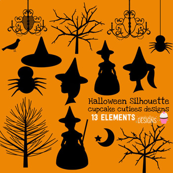 Halloween Silhouette Digital Clip Art Elements