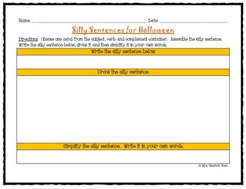Halloween Word Work - Silly Sentences for Fluent Readers