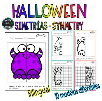 Halloween Simetrías Symmetry Differentiated Math Centers Dibujos Simétricos