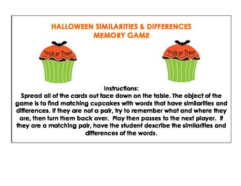 Halloween Similarities and Differences Memory Game