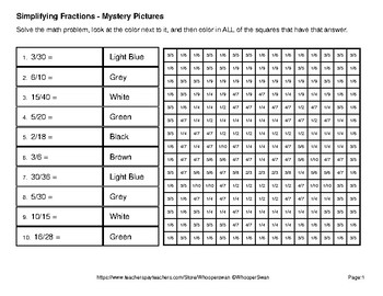 Halloween: Simplifying Fractions - Color-By-Number Mystery Pictures