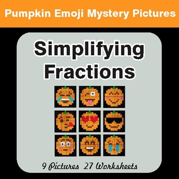 Halloween: Simplifying Fractions - Color-By-Number Math Mystery Pictures