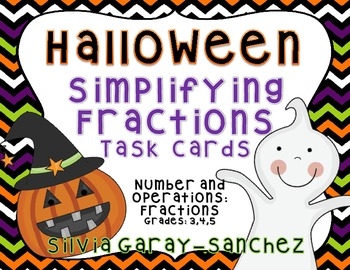 Halloween Simplifying Fractions Task Cards