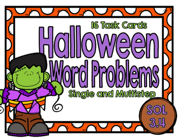 Halloween Single and Multistep Word Problems-SOL 3.4