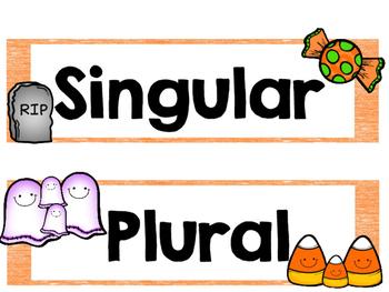 Halloween Singular Plural Pocket Chart Sort